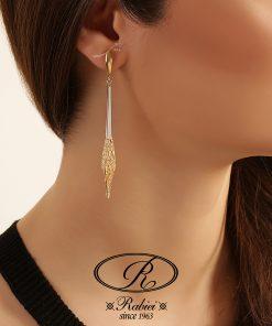 گوشواره دو رنگ آکوا توری - gold-earring, gold