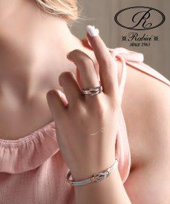 دستبند و انگشتر فرد طرح گره امگا - gold, gold-bracelets-and-rings, gold-bangle-bracelet