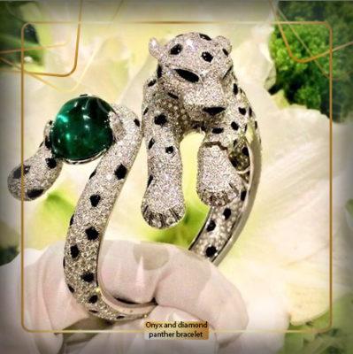 دستبند عقیق و الماس پلنگ (Onyx and diamond panther bracelet)